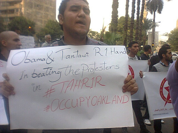 Egyptions express solidarity with Occupy Oakland in the U.S.